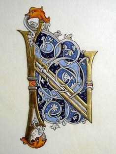 Medieval Illumination; Initial N