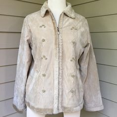 Soft, warm beige faux fur suede like jacket Gorgeous jacket looks almost like suede with faux fur trim. Vegan materials with pockets. So comfortable. Size medium. Effeci Jackets & Coats Utility Jackets