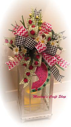 Summer Lantern Swag, Watermelon Decoration,Watermelon swag,Watermelon Wreath accent bow, watermelon wreath accent, summer Lantern topper bow by MarlenesCraftShop on Etsy