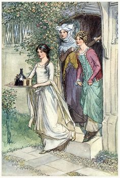 oldbookillustrations: Enter Anne Page with wine, Mistress Ford and Mistress Page following. Hugh Thomson, from The merry wives of Windsor, by William Shakespeare, New York, 1910. (Source: archive.org)