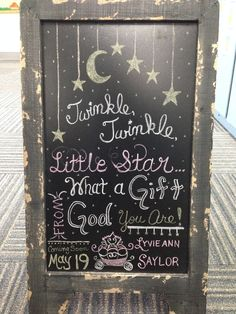 Twinkle twinkle little star chalkboard. Baby shower