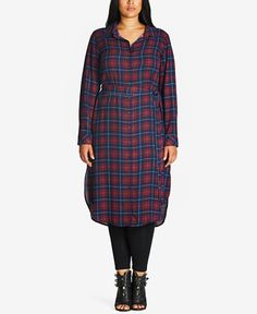 79.00$  Buy now - http://vijue.justgood.pw/vig/item.php?t=1whzlm84541 - Trendy Plus Size Plaid Maxi Shirtdress 79.00$