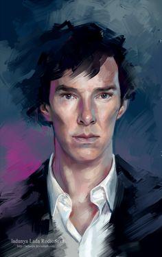 Shershok by ladunya Sherlock Fandom, Bbc Sherlock Holmes, Sherlock Series, Sherlock Holmes Benedict Cumberbatch, Johnlock, 221b Baker Street, Digital Portrait, Doctor Strange, Martin Freeman