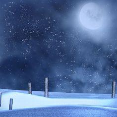 Christmas background snow moon blue