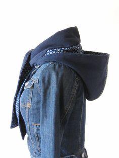 Echarpe à capuche fille femme laine polaire marine et coton imprimé : Echarpe, foulard, cravate par filles-factory