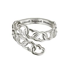 """Sterling Silver Beyond Measure Bypass Ring. Sterling silver bypass ring made up of heart shaped chain links. Inside shank of ring is inscribed with the words """"Loved Beyond Measure."""" Chain link design only goes around front of the ring to about half way back. The back part of the ring is a solid shank."""