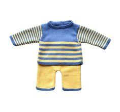 Conjunto bebé niño. Jersey pantalón bebé. Ropa bebé hecha mano. Conjunto bebé azul amarillo. Regalo bebé niño. Conjunto bebé merino algodón. de Puntoapuntobebeymas en Etsy
