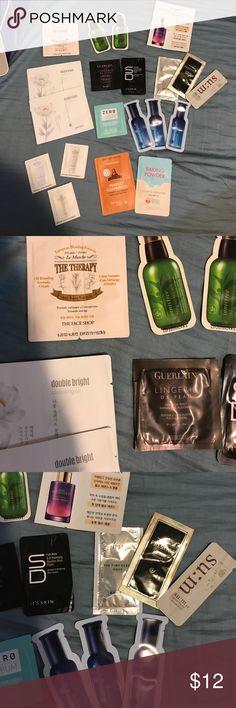 Korean skincare samples 20 pieces Korean Samples- su:m37, tony moly, innisfree, etude house, ipsa, Guerlain, the face shop, missha, club Clio, it's skin Innisfree Makeup