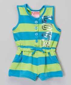Look at this #zulilyfind! Blue & Green Stripe 'Love' Romper - Infant, Toddler & Girls by 2B Real #zulilyfinds