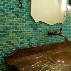 Turquoise Tile our mosaic turquoise tile is amazing as this accent wall. | mosaic