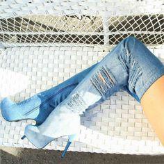 Thigh High Distressed Denim Platform Boots