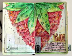 Art Journal  again, loving the colors. great full page spread on a simple food topic