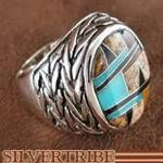 Authentic Sterling Silver Tiger Eye Turquoise Multicolor Ring