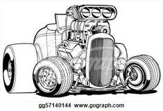 Stock Illustration Cartoon Deuce Hot Rod Clip Art Gg57140144 ...