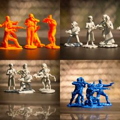 Characters from the award winning independent film Another Plan from Outer Space battle the alien attackers! LOD017 for $25.00 (October 2020). Plastic Toy Soldiers, Space Battles, Army Men, Independent Films, Outer Space, 3d Printer, Action Figures, October, Characters