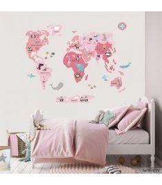 Vinilo infantil Mapamundi Animal rosa