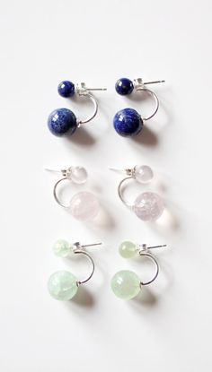 Gem - Stone Ear Jacket, Sterling Silver Double Earrings, Double Pearl Earring, Minimalist Ear Cuff, Holiday Gift for Her