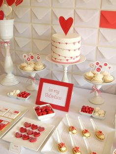 Valentine's Day dessert table-cool backdrop