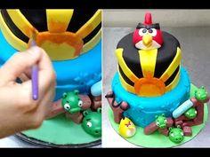 Angry Birds Cake - Birthday cake Ideas Tutorial by Cakes StepbyStep