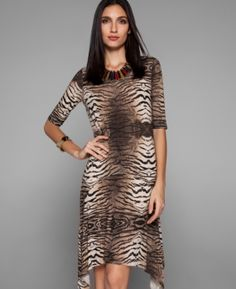 Vestido animal print com saia irregular (ref. IVE214)