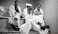 Letting off some steam, the Rat Pack way: Lawford, Sinatra, Davis Jr along with Al Hart, rumoured to be the Mob's chief financial man, sweat it out in the steam room at the Sands in Las Vegas  Read more: http://www.dailymail.co.uk/femail/article-1349072/The-Rat-Packs-intimate-fun-times-caught-camera.html#ixzz3CqdrTzFX  Follow us: @MailOnline on Twitter | DailyMail on Facebook