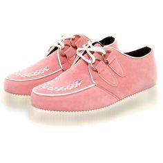 Jade Pastel Pink Suedette Creeper Shoes ($50) ❤ liked on Polyvore