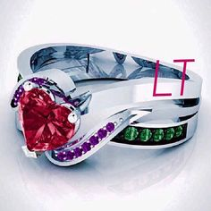 This beautiful and unique ring, inspired by the little mermaid herself, is sure to turn some heads with its exquisite Swarovski Ruby Heart