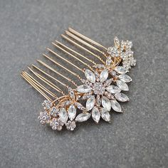 Rose Gold Crystal Bridal Hair Comb 1 - Earrings Nation