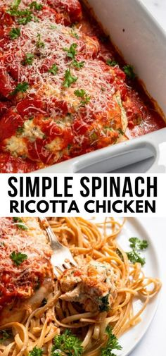 This Spinach Ricotta Chicken is so simple to whip up but tastes like a fancy gourmet meal! Rich and creamy ricotta, parmesan, spinach and a few other simple ingredients come together in this delicious chicken recipe to keep you from making the same old chicken all the time! Ready in 30 minutes too! #ricotta #italianchicken #ricottachicken Yummy Chicken Recipes, Yum Yum Chicken, Turkey Recipes, Baked Chicken, Turkey Dishes, Best Dinner Recipes, Great Recipes, Healthy Recipes, Weeknight Recipes