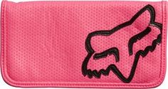 """FOX RACING FAST LANE WOMENS BIFOLD CHECKBOOK DAY GLO PINK by Fox Casuals. $32.40. 100% Perforated PU bifold checkbook. Contrast Fox Head applique at front. Enamel coated chunky Fox Head zipper pull at back coin pocket. Interior logo striped poly twill liner. 7.5"""" W x 4""""H/ 19.1cm x 10.2 cm"""