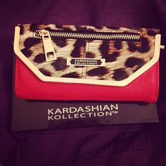 Kardashian Collection Leopard & Red Clutch