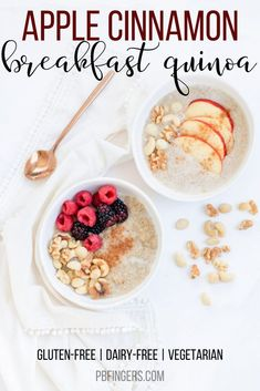 A simple breakfast recipe, this Apple Cinnamon Breakfast Quinoa is a warm and comforting dish begging to be topped with fresh berries or your favorite chopped nuts.