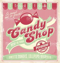 Vintage poster template for candy shop royalty-free stock vector art