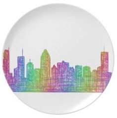 Montreal skyline party plate $27.60 *** Multicolor line art city silhouette of Montreal (Quebec). - melamine plate