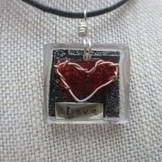 Great for Valentines Day! Resin Pendant  Resin Jewelry  Mixed Media by WhyitsmeDesign,