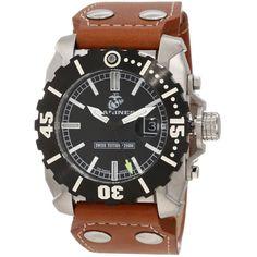 U.S. Marine Corps WA122 Men's Armor Swiss Tritium Sport Black Dial Brown Leather Strap Dive Steel Watch