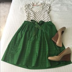 Green Anthropologie Skirt Adorable green Anthropologie skirt by Odille. Perfect for spring!  Anthropologie Skirts