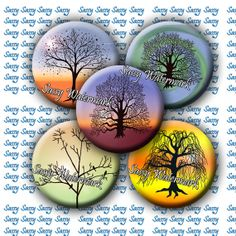 INSTANT DOWNLOAD ~1 Inch~ Beautiful Trees and Background Circles - Buttons Pendants Magnets Bottle Cap Digital Collage Sheet