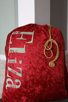 And I Thought I Loved You Then: Sew Sew Sweet Saturday-Santa Bag .... Put our last name on it