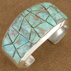 Inlaid Genuine Kingman Turquoise Heavy Gauge Sterling Silver Ladies Cuff Bracelet By Lucky $575 #alltribes