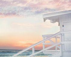 Pastel Sunset, Beach Cottage Decor, Cottage Ideas, Beach Wallpaper, Beach Aesthetic, Bathroom Wall Art, Beach Wall Art, Beach Print, Lifeguard