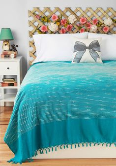 Sea of Dreams Bedspread in Full/Queen Size by Karma Living - Cotton, Blue, White
