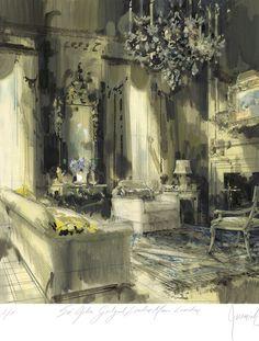 DEAN RHYS MORGAN Works on Paper - Artist Prints - Jeremiah Goodman - Sir John Gielgud Sitting Room