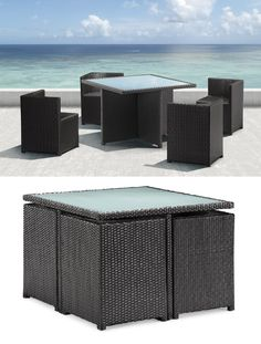 Nesting furniture is a new design feature that turns your outdoor furnishing into origami. Let me explain. The idea behind this concept is to help maximize space by designing furniture that will fold and stack into interlocking pieces. Picture above is the Orgami Dining Set from Zuo Modern.