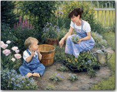Reminds me of my Mom with my son :)Planting More Than Flowers  Art Print by Robert Duncan