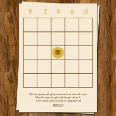 Sunflower Bridal Shower Bingo, Wedding Shower Games, Set of 25 Printed Cards, Free Shipping. $15.00, via Etsy.