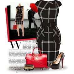 Karen Millen Dress by ccroquer on Polyvore featuring moda, Christian Louboutin, Yves Saint Laurent and Tory Burch