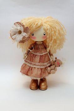 Bambola bambola di tessile beige Pauline, bambola di panno al forno regalo latte per lei