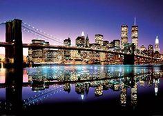 New York City Skyline-Brooklyn Bridge, Photography Giant Poster Print, 39 by 55-Inch