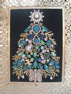 Jeweled Chrsitmas Tree Framed Gold Green by audreymivey on Etsy, $65.00